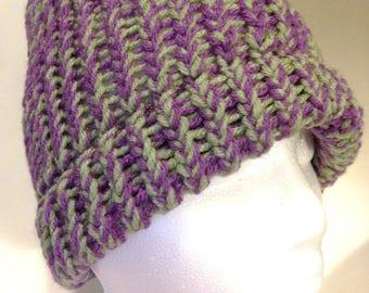 Purple and Green Handmade Crochet Winter Hat Toboggan