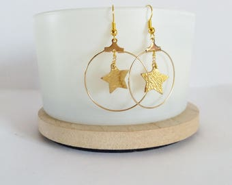 Earrings Creole gold leather star