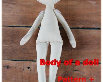 PDF Tutorial Textile Doll 25сm / 9in Doll body Cloth Doll Pattern PDF Sewing Tutorial Soft Doll Pattern Sewing tutorial Pattern doll