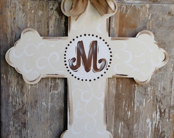 Door Hanger, Cross Door Hanger, Door Art, Cross Door Decor, Door Decor, Baptism Gift, Religious Gift, Religious Door Hanger
