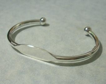 12 Adjustable Silver Cuff Bracelet Blanks, Glue Pad Bracelets, Engravable ID Bracelets, Stamping Blanks