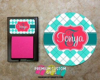 Round Mouse Pad & Matching Sticky Note Holder Combo - Personalized Mouse Pad - Custom Sticky Note Holder - Home or Office - Design #MPSH