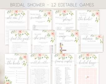Bridal Shower Games Romantic Blush Pink White Flowers Editable Bridal Shower Games Package Set Bundle White Pink Floral Game Set,