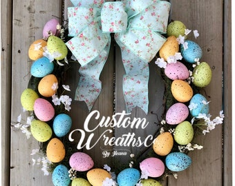 Easter Wreath - Spring - Easter Eggs - Pastel Colors