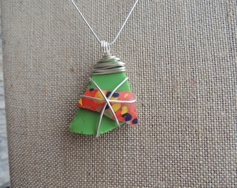 Green and Multi Wire Wrapped Sea Glass Necklace, Authentic Sea Glass