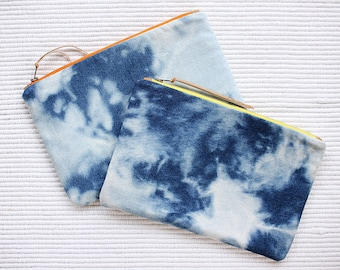 Sky Reverse Shibori - Denim Pouch - Denim Clutch - Organiser Case- Make up Bag