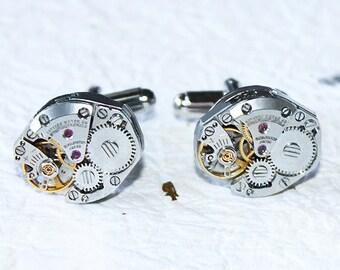 CITIZEN Men Steampunk Cufflinks - Matching Silver Vintage Watch Movement Men Steampunk Cufflinks Watch Cuff Links Gift for Men Wedding Gift