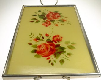 Tray Serving Platter 50's floral pattern roses
