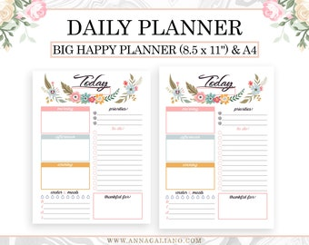 Daily Planner Printable, Daily To Do List, Day on one page, Daily Task, Printable Daily Schedule, Big Happy Planner, A4 Letter Daily page