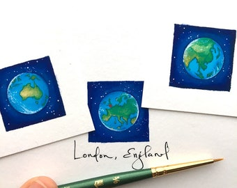 Earth Day Mini Art, Matted Giclee Prints, Personalized Gift for Long Distance Love