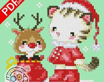 "SO-OP56 ""Kitty Santa"" sodastitch cross stitch pattern,PDF pattern chart"