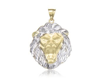 10K Solid Yellow White Gold Lion Head Pendant - Face Necklace Charm