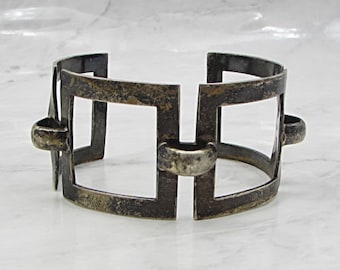 Mexico 925 sterling silver - vintage geometric cut out 40mm cuff bracelet b1004