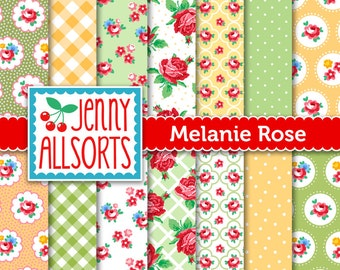Shabby Chic Digital Paper Melanie Rose - Pink, Yellow and Green - for invites, card making, digital scrapbooking