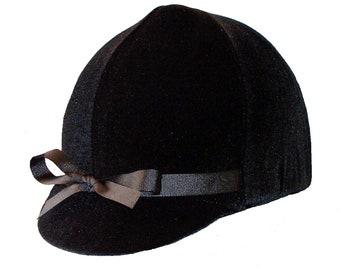Black Velvet equestrian helmet cover with Bow