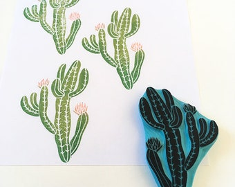 Cactus rubber stamp, hand carved rubber stamp, cactus stamp, cactus plant, cactus art, cassastamps