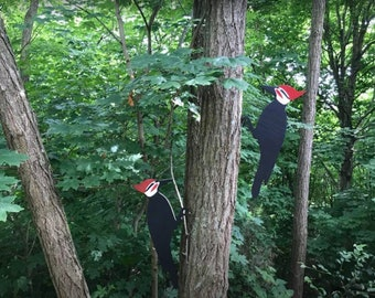 Double sided hand painted pileated woodpecker