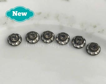 8mm Crystal Silver Shade / Black Diamond Swarovski disc (x6+)
