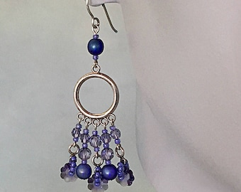 Swarovski Tanzanite Crystals, Sterling Silver Components & Glass Beads Chandelier Earrings, Purple, Blue Jewelry, Boho Style Dangle Earrings