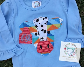 Cow appliqued Ruffle tee with initials