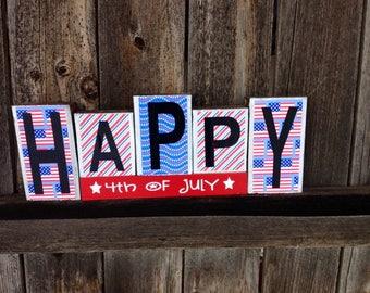 4th of July blocks-Happy 4th of July-usa stars
