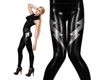 Double Lightning Bolt Leggings; Black, David Bowie, Glam Rock, Spandex Pants, Stage Wear, Futuristic Clothing, Heavy Metal, by LENA QUIST