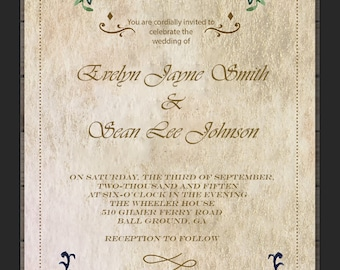 Floral Watercolor Vintage Wedding Invitation PDF