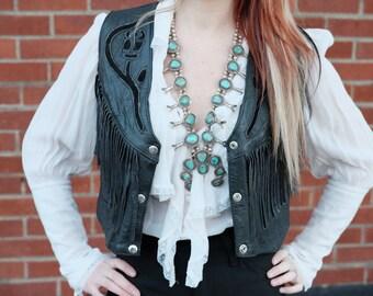 Vintage black western leather vest/fringe/biker/fringe/rose/Size:Small