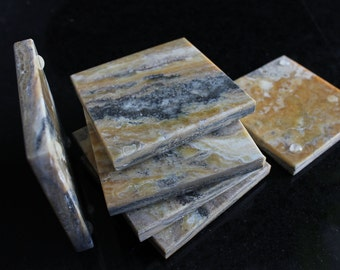 Stone Coasters Set Of Six From Natural Onix Travertine Stone Limited Edition