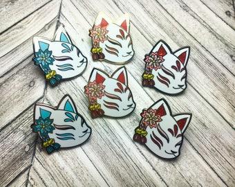 Hard Enamel Kitsune Mask Pin