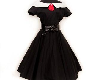 1960s Demaro Black Dress / white collar