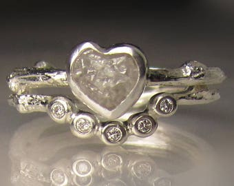 Heart Shaped Raw Diamond Engagement Ring, Rough Diamond Wedding Set, Raw Diamond Branch Ring