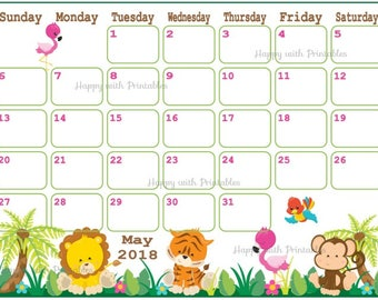 Calendar May 2018 - Jungle Safari Planner Printable - Cute Planner - MIX and MATCH theme - May 2018 Planner - 2018 May Calendar