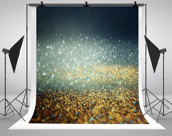 Gold Bokeh Glitter Vintage Lights Photography Backdrops Silver and Black Photo Backgrounds for Wedding Studio Props