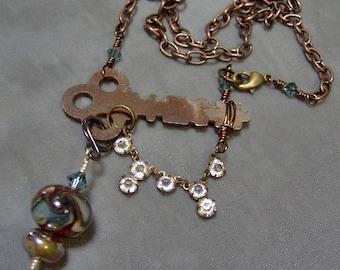 Lampwork Necklace - Artisan Lampwork Beaded Antique Skeleton Key Necklace-Vintage Skeleton Key Necklace-Cooper Chain-SRAJD-Vintage Findings