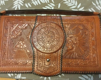 Beautiful large tooled leather Mexican clutch strap handbag strap vintage purse 1940's 1950's
