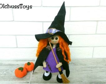 Halloween Witch crochet Witch Doll Amigurumi Witch doll Plush Witch Doll with Broom Witch toy Halloween decoration Friendly witch doll cute