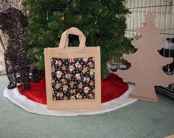 Christmas Owls Jute Bag, Owl Bag, Owls Bag, Christmas Owl Bag, Festive Owls Bag, Festive Owl Bag, Jute Bag, Hessian Bag, Handmade Bag