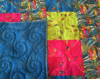 Tropical Whimsy Vivid Blue Pink and Lime Green Quilt
