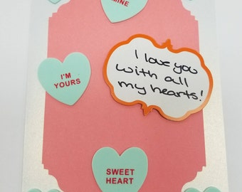 I love you with all my hearts! Handmade Greeting Card * Conversation Hearts * Foodie Love * Valentines Day * Salmon Mint Green Card
