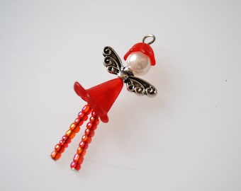 Angel girl in material and metal pendant synthetic Angel with glass seed beads