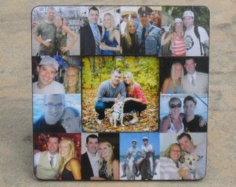 "Engagement Collage Picture Frame, Custom Photo Frame, Personalized Wedding Gift, Unique Valentine's, Birthday Gift, Boyfriend Gift, 8"" x 8"""