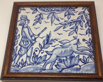 Vintage Fabrica Sant' Anna Portugese Framed Tile: Handmade and Signed SALE ~ SAVE 20%