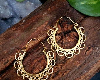 Tribal Brass Earrings. Hoop Earrings. Boho Earrings. Gypsy Hoop Earrings. Ethnic Earrings. Tribal design. Handmade Jewelry. Festival Jewelry