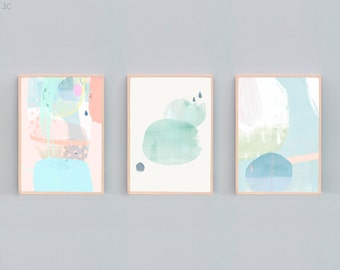 Set of 3, Abstract Painting, Abstract Art Set, Contemporary Art Prints, Minimalist Art, Beach House Art, Tranquil Art, Soft Color Art, Blue