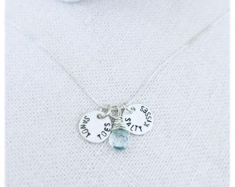 Sandy Toes & Salty Kisses Aquamarine Gemstone Sterling Silver Necklace