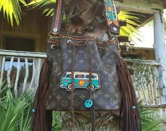 Vintage Swag Boho-inspired Fringed Vintage Louis Vuitton Bucket Bag
