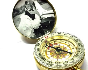 Personalized Engrave Compass, Brass compass GOLD Compass Photo compass, Personalize Compass, Engraved Compass
