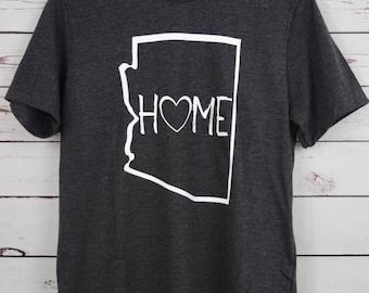 Arizona Home  Dark Gray Shirt, Arizona, Arizona Shirt, Arizona Native, I Love Arizona, AZ