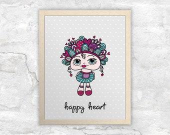 PRINTABLE Happy Heart Doodle Doll Wall Art | Instant Digital Print Download | Original Doodle Design